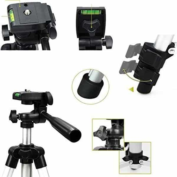 Portable and Foldable Metal 3110 Tripod With Mobile Clip Holder Bracket