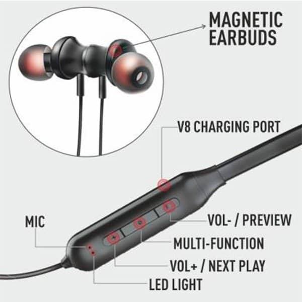 UBON BT-5100 Wireless Neckband in-Ear Bluetooth Earphones with Mic