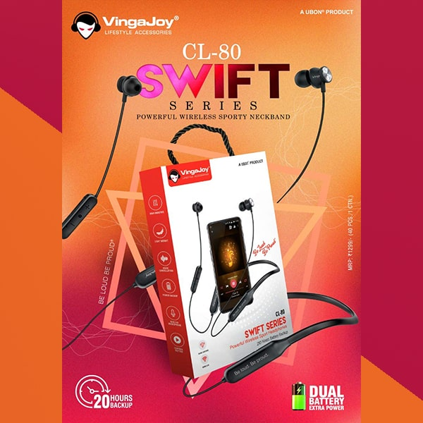 VingaJoy CL-80 Swift Series Powerful Wireless Sporty Neckband