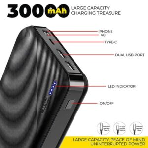 """ UBON 30000 mAh Powerbank PB-X33 Jumbo Power with 3-in-1 Charging Ports"""