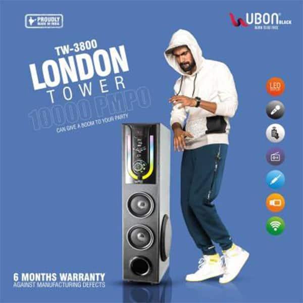 Ubon TW-3800 London Tower 60 W Bluetooth Home Theatre (Black, 3.1 Channel)