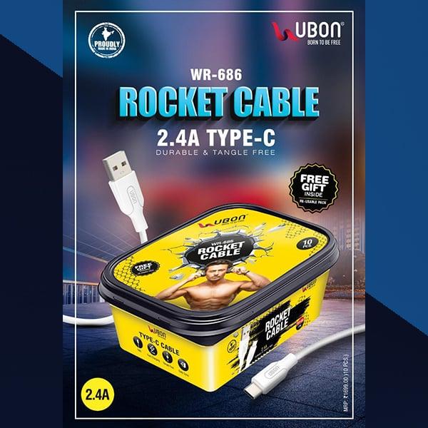 Ubon WR-686 2.4A TYPE-C Rocket Cable