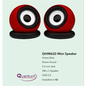 QUANTUM QHM 620 USB 6 W Portable Laptop/Desktop Speaker (Red, 2.0 Channel)