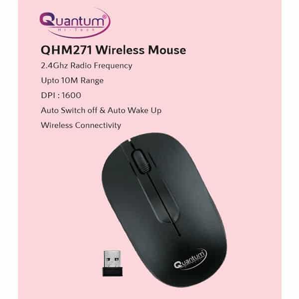 QUANTUM QHM271 Wireless Optical Mouse (2.4GHz Wireless, Black)