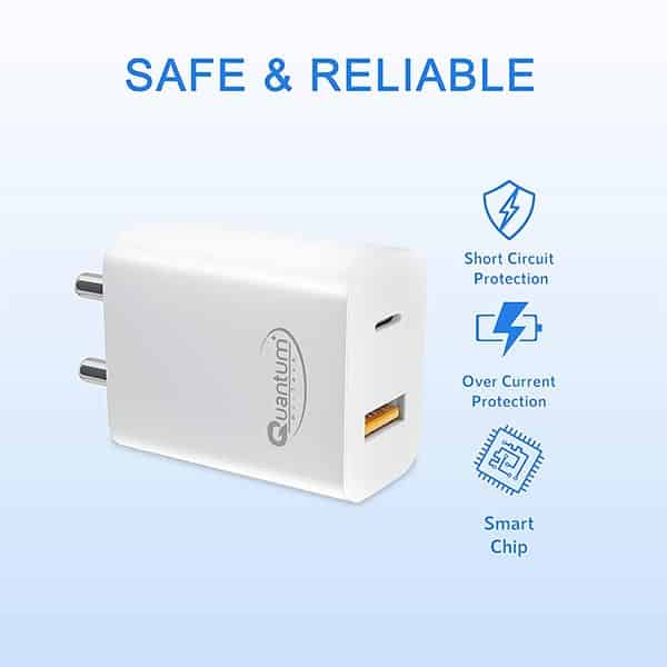 Quantum QHM3500 20W Fast Charger QC+PD Dual Output Mobile Charger