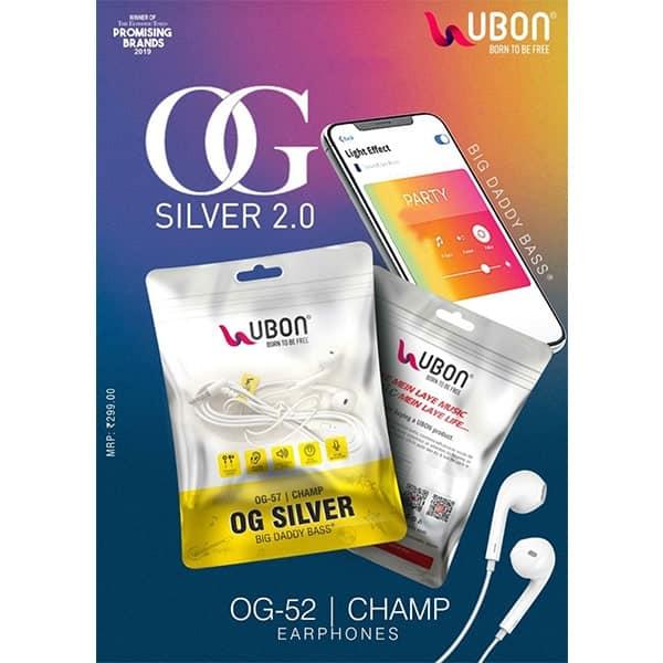 Ubon OG-52 SILVER 2.0 Champ Earphones