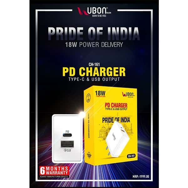 Ubon CH-161 18W PD Charger Type-C & USB Output