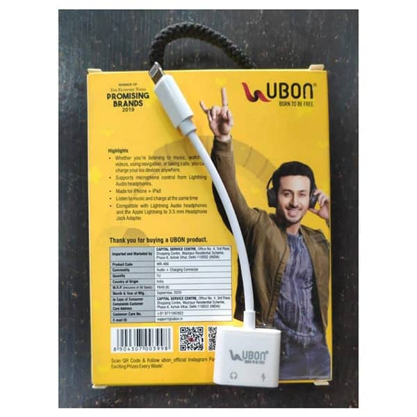 Ubon WR- 486 2 in 1 Audio + Charging Connector for iPhone