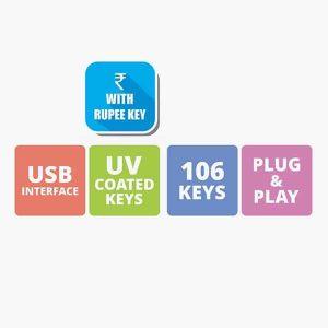 ZEBRONICS Zeb K35 Wired USB Keyboard With Rupee Key