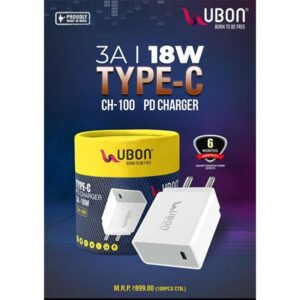 Ubon CH-100 Type-C 3A 18W Charger Adapter