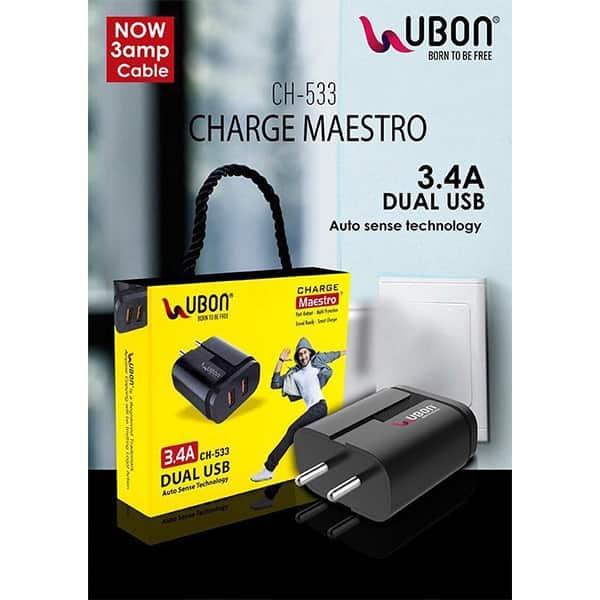 Ubon CH-533 3.4A Dual USB Port Wall Charger