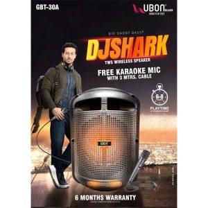 Ubon GBT-30A DJSHARK Bluetooth Speaker with Karaoke Mic